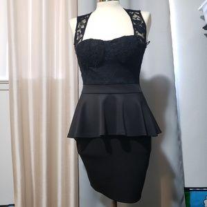 Foreign exchange peplum black dress